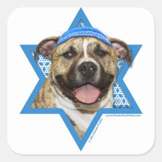 Hanukkah Star of David - Pitbull - Tigger Square Sticker