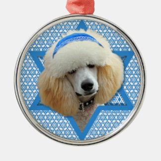 Hanukkah Star of David - Poodle - Apricot Metal Ornament
