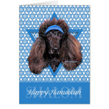 Hanukkah Star of David - Poodle - Bix Greeting Card