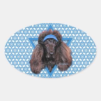 Hanukkah Star of David - Poodle - Bix Oval Sticker