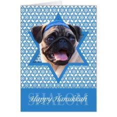 Hanukkah Star Of David - Pug Card at Zazzle