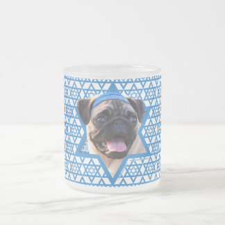 Hanukkah Star of David - Pug Frosted Glass Coffee Mug