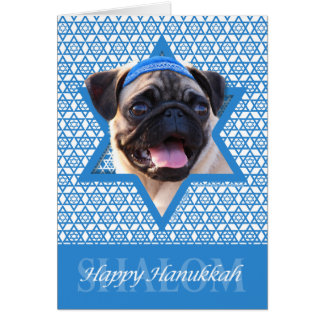 Hanukkah Star of David - Pug Greeting Card