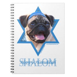 Hanukkah Star of David - Pug Notebook
