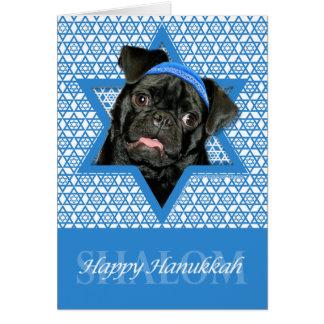 Hanukkah Star of David - Pug - Ruffy Greeting Card