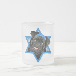 Hanukkah Star of David - Pug - Ruffy Frosted Glass Coffee Mug