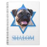 Hanukkah Star of David - Pug Spiral Note Book