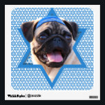 """Hanukkah Star of David - Pug Wall Sticker<br><div class=""""desc"""">What could make saying Happy Hanukkah more fun than having this Pug Dog wearing a Yamaka surrounded by the Star of David. This whimsical holiday design will be sure to delight your friends and family as well as other animal lovers. This design is available in over 100 Dog Breeds. If...</div>"""
