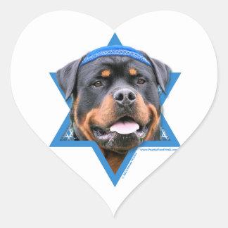 Hanukkah Star of David - Rottweiler Heart Sticker