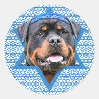 Hanukkah Star of David - Rottweiler Classic Round Sticker