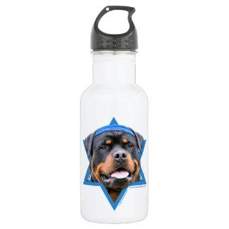 Hanukkah Star of David - Rottweiler Water Bottle
