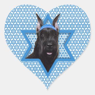 Hanukkah Star of David - Schnauzer Heart Sticker