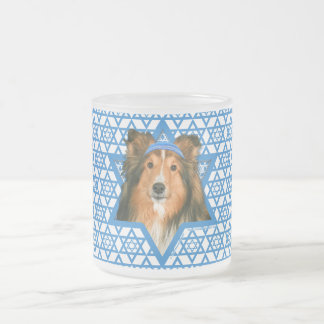 Hanukkah Star of David - Sheltie Frosted Glass Coffee Mug