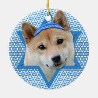 Hanukkah Star of David - Shiba Inu Ceramic Ornament