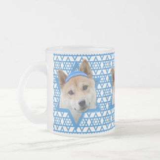 Hanukkah Star of David - Shiba Inu Frosted Glass Coffee Mug