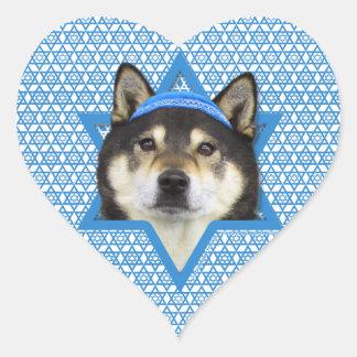 Hanukkah Star of David - Shiba Inu - Yasha Heart Sticker