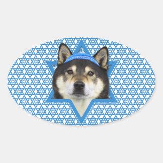 Hanukkah Star of David - Shiba Inu - Yasha Oval Sticker
