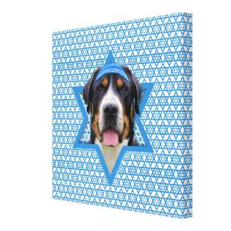 Hanukkah Star of David - Swiss Mountain Dog Stretched Canvas Print