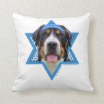 Hanukkah Star of David - Swiss Mountain Dog Throw Pillow