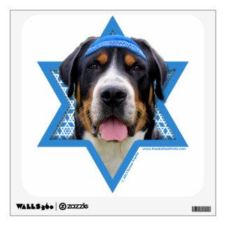 Hanukkah Star of David - Swiss Mountain Dog Room Sticker