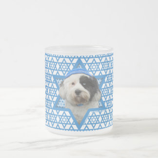Hanukkah Star of David - Tibetan Terrier Frosted Glass Coffee Mug