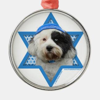 Hanukkah Star of David - Tibetan Terrier Round Metal Christmas Ornament
