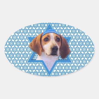 Hanukkah Star of David - Treeing Walker Coonhound Oval Stickers