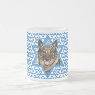 Hanukkah Star of David - Vallhund - Bear Frosted Glass Coffee Mug