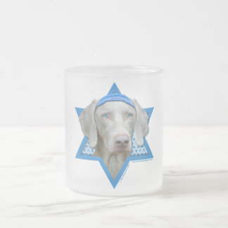 Hanukkah Star of David - Weimaraner Frosted Glass Coffee Mug