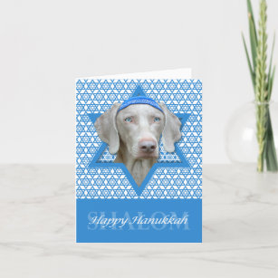 Hanukkah Star of David - Weimaraner Holiday Card