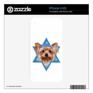 Hanukkah Star of David - Yorkshire Terrier Decals For iPhone 4