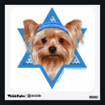 """Hanukkah Star of David - Yorkshire Terrier Wall Sticker<br><div class=""""desc"""">What could make saying Happy Hanukkah more fun than having this Yorkshire Terrier Dog wearing a Yamaka surrounded by the Star of David. This whimsical holiday design will be sure to delight your friends and family as well as other animal lovers. This design is available in over 100 Dog Breeds....</div>"""