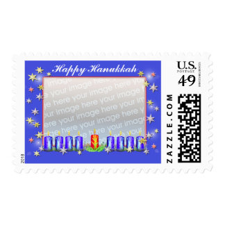 Hanukkah Stars and Candles Photo Frame Stamp