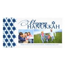 Hanukkah Stars Of David Pattern Modern Greetings Card