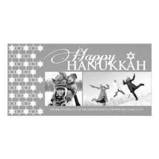Hanukkah Stars Of David Pattern Modern Greetings Picture Card