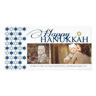 Hanukkah Stars Of David Pattern Modern Greetings Photo Greeting Card