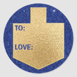 """Hanukkah Stickers (1 1/2&quot;/3&quot;)&quot;Personalize Dreidel&quot;<br><div class=""""desc"""">Hanukkah/Holiday stickers, &quot;Personalize Golden Dreidel&quot; Choose from 1 1/2&quot; and 3&quot; stickers. Personalize by deleting and replacing, &quot;To: Love&quot; with your own message. Choose your favorite font size, style, and color. Thanks for stopping and shopping by! Your business is very much appreciated! Happy Hanukkah! Shape: Classic Round Sticker Make your...</div>"""