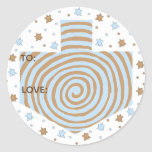 """Hanukkah Stickers (1 1/2&quot; or 3&quot;)Dreidel/Blue/Brown<br><div class=""""desc"""">Personalize by changing font size, style, color and wording. So many uses: To and From gift stickers, Thank You stickers on treat bags, Cake Toppers (stick on heavy cardstock, cut out sticker, tape toothpick on back of cardstock), or how about Gift Tags (stick on heavy cardstock, cut out sticker, punch...</div>"""