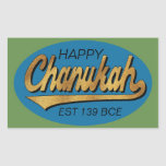 """Hanukkah Stickers &quot;Retro Chanukah Est 139 BCE&quot;<br><div class=""""desc"""">Hanukkah/Chanukah Rectangular Holiday stickers, &quot;Retro Happy Chanukah Est 139 BCE&quot; Have fun using these stickers as cake toppers, gift tags, favor bag closures, or whatever rocks your festivities! Personalize by deleting, &quot;Happy and EST 139 BCE&quot; and replacing with your own text using your favorite font style, size, and color. Background...</div>"""