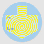 """Hanukkah Stickers Round (1 1/2&quot;, 3&quot;) Personalized<br><div class=""""desc"""">Personalize by changing font size, style, color and wording. So many uses: To and From gift stickers, Thank You stickers on treats, Cake Toppers (stick on heavy cardstock, cut out sticker, tape toothpick on back of cardstock), or how about Gift Tags (stick on heavy cardstock, cut out sticker, punch small...</div>"""