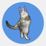 Hanukkah Stickers with Dancing Kitty Cat in Kippah