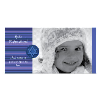Hanukkah Striped Card Photo Card