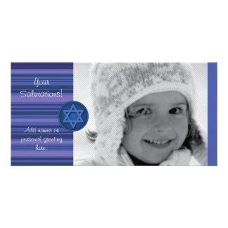 Hanukkah Striped Card Photo Greeting Card