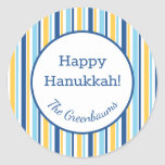 """Hanukkah Stripes Gift Tag<br><div class=""""desc"""">These fabulous gift tags would look great on all your Hanukkah gifts.  They are classic with their blue argyle pattern.  Trendy yet traditional.  And,  they are customizable with your family name.</div>"""