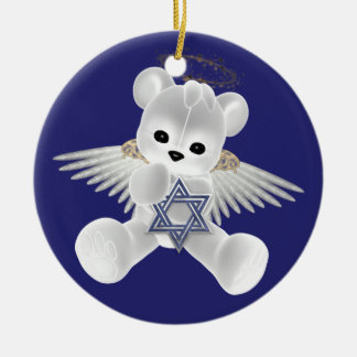 Hanukkah Teddy Bear Ceramic Ornament