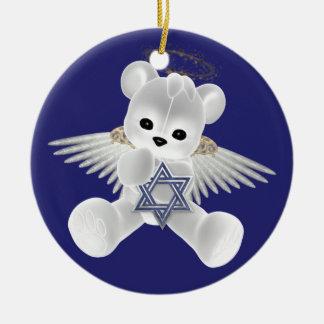 Hanukkah Teddy Bear Double-Sided Ceramic Round Christmas Ornament