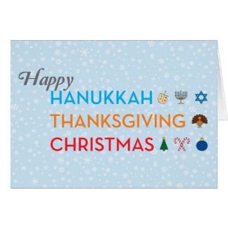 Hanukkah, Thanksgiving, Christmas Card