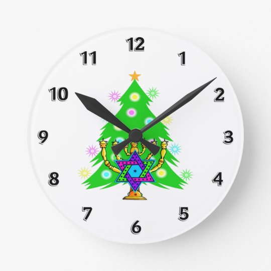 Hanukkah Time Round Clock