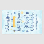 """Hanukkah Whimsical Light and Peace Rectangular Sticker<br><div class=""""desc"""">A Jewish Hanukkah theme card with a menorah, Star of David and Driedel. The text reads Wishing You Light & Peace Happy Hanukkah. The background is a light blue watercolor wash. Customize this label with a short message, two lines are provided for personalization. These labels are nice for packaging gifts....</div>"""