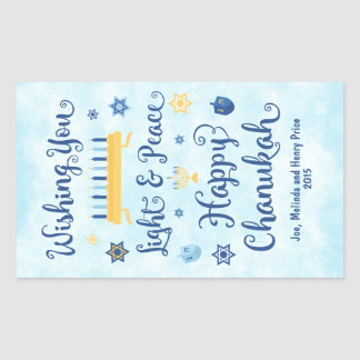Hanukkah Whimsical Light and Peace Rectangular Sticker